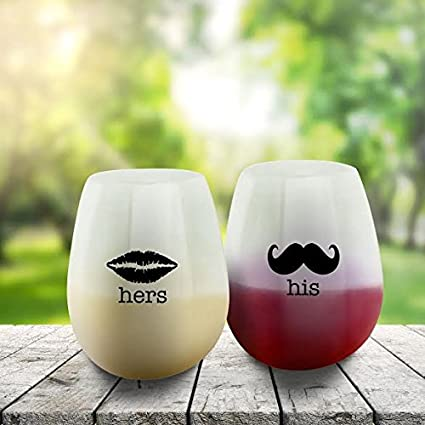 SIP IT! His and Hers Unbreakable Stemless Silicone Wine Drinking Glasses – Set of 2 – Unique, Funny Novelty Cups for Wedding, Anniversary, Newlyweds