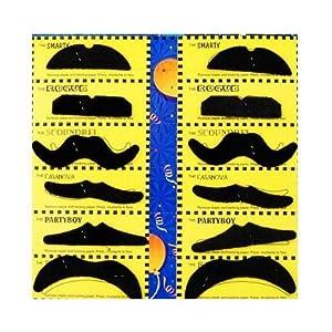 Bart: verschiedene Schnurrbärte, selbstklebend, auf Bartkarte, 12 Stück