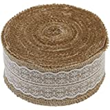 1 Metre of Natural Hessian Ribbon with Lace Detail, Available in 2.5cm, 4cm and 6cm Widths (6cm)