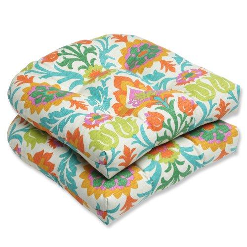 Pillow Perfect Outdoor Santa Maria Mimosa Wicker Seat Cushion, Set of 2 photo
