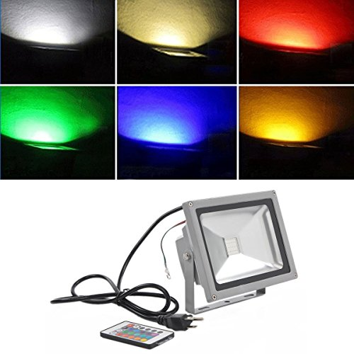 Hossen® 20W Rgb Color Changing Led Flood Light 85~264V Outdoor 1600Lm With Remote Control