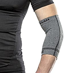 Zensah Compression Tennis Elbow Sleeve for Elbow Tendonitis, Tennis Elbow, Golfer\'s Elbow - Elbow Support, Elbow Brace,Small,Heather Grey