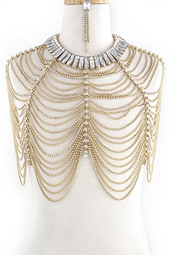 The Jewel Rack Crystal Lined Tiered Fashion Body Chain Set (Clear/Gold)