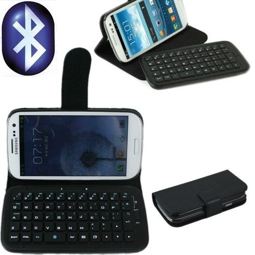 TOP® Wireless Removable Bluetooth Keyboard Leather Case Cover For Samsung Galaxy S3 S III i9300 in Black Color