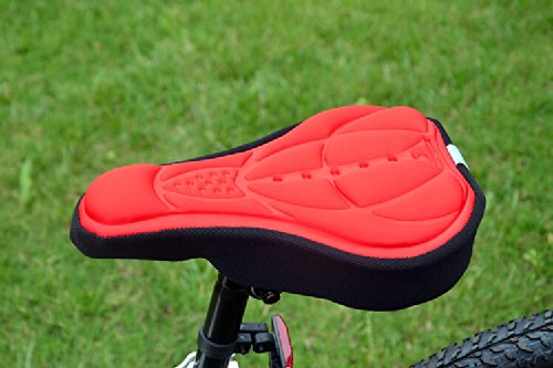 Andget Mountain Bicycle Saddle Seat Gel Pad Cushion Cover Airy Comfortable 290Mm*170Mm Red
