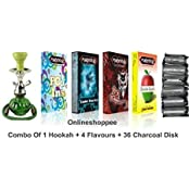 Desi Karigar Combo Pack Of 1 Green Hookah,4 Flavours,36 Charcoal Disk