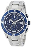 Armitron Mens 20/4788BLSV Multi-Function Chronograph Blue Dial Silver-Tone Stainless Steel Bracelet Watch