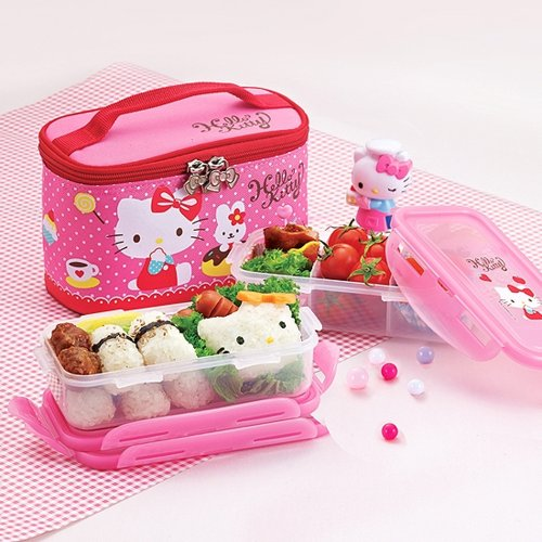 Lock & Lock Hello Kitty Baby Children Donuts Bag Lunch Box Set 2-tier 350ml*2 LKT731DP