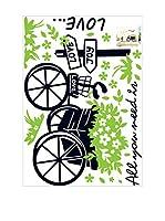 Ambiance Live Vinilo Decorativo Love and Bike Multicolor
