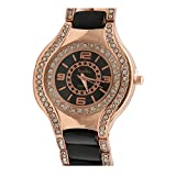 Merchant eShop New stylish Diamond stone studded Black Rose Gold watch for woman Roman number dial