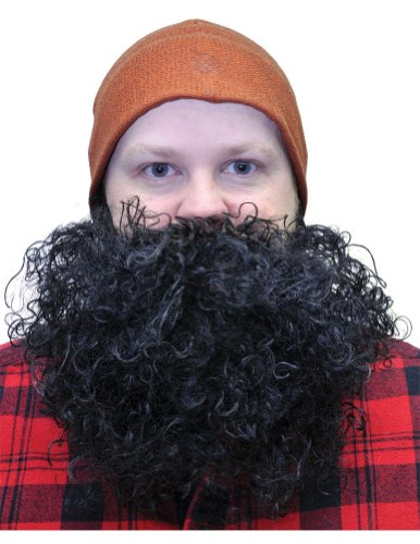Beard Big And Curly Black Halloween Costume - 1 size