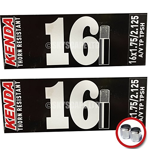 2 x Kenda THORN RESISTANT Inner Tubes - 16 x 1.75 - 2.125 - Schrader / Auto Valve - PAIR - FREE SHIPPING! FREE VALVE CAP UPGRADE WORTH $4.99! (Puncture Resistant Inner Tube compare prices)