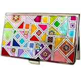 Antique Alive Mother of Pearl Yellow Green Red Colorful Patchwork Design Business Credit Card Holder Wallet (B108)