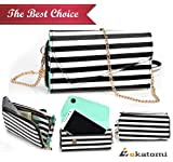 Motorola Photon Q 4G LTE XT897 Phone Case - BLACK WHITE STRIPES & MINT GREEN [Urban Safari] | Universal Women's Wallet Wrist-let Shoulder Bag. Bonus Ekatomi Screen Cleaner
