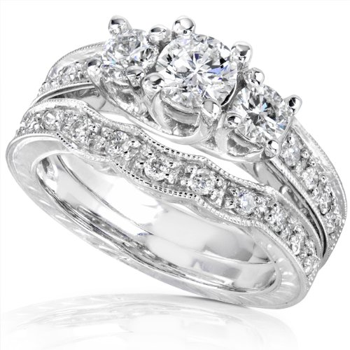 1.00ctw Round Brilliant Diamond Wedding Ring Set in 14Kt White Gold (HI/I1)