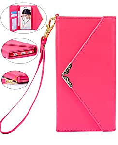 Iphone 6 Plus Wallet Case, Crosspace iphone 6s Plus Envelope Flip Handbag Shell PU Leather Detachable Folio Cover Cases with Credit Card ID Holders Wrist Strap for Apple Iphone 6/6s plus 5.5 -Pink