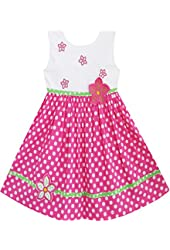 Sunny Fashion Girls Dress Pink Dot Flower Embroidered Sundress