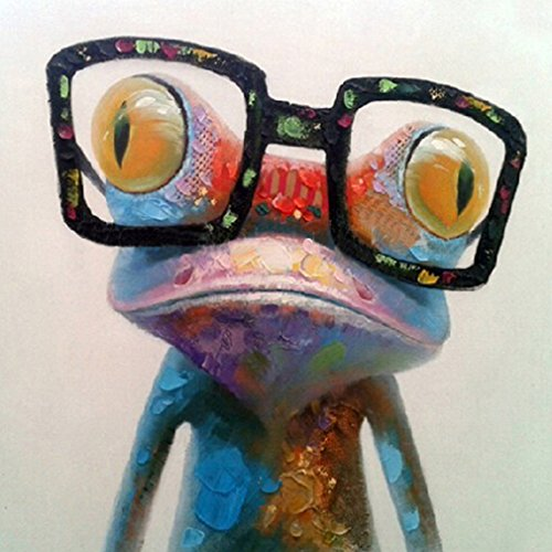 Oo Art-Oil Painting 100% Handpainted Art on Canvas Cute Frog with Glasses Wall Decor for Boys Room(16x16in, Happy Frog)