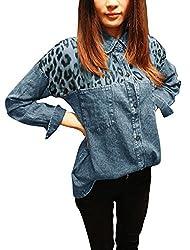 Ladies Fashion Point Collar Leopard Prints Denim Shirt