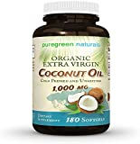 Coconut Oil Capsules - 1000 mg Organic Extra Virgin - 180 Softgels - Great Pills for Energy, Weight Management Hair, and Skin