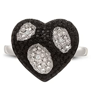 Black And White Diamond Heart Cocktail Ring, Available In Ring Sizes 5-8, Ring Size 7