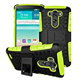 Queens® Case Cover For LG G3 III Dual Armor Layer Heavy Duty Ultra Rugged Hybrid Composite Hard Gel Case with Kick-Stand for LG G3 III With Clear Screen protect (A-Green)