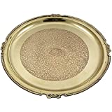 "Traditional Pure Brass Puja Pooja Archana Thali Plate For Hindu Prayer - 13"" X 1"" X 1"""