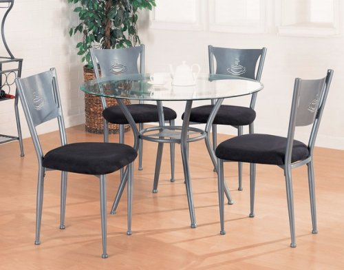 Cheap 5pc Silver Gray Metal Finish Dining Table & 4 Chair Set w/Glass Top (VF_150001)