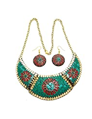 My International Designer Green & Red Colour & Metal,Brass With Laakh Work Necklace Earring Set For Women