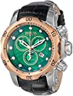 Invicta Men's 10812 Venom Reserve Chronograph Green Textured Dial Black Leather Watch