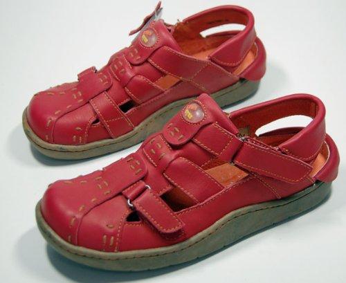 Leder Sandaletten Comfort Damen Schuh Rot TMA EYES Sandalen Schuhe echt Leder Clogs Gr. 36