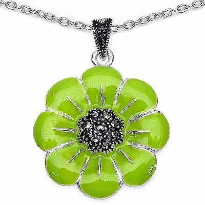 Jewelry-Schmidt-Necklace / pendant green enamel coating / silver flower with marcasite (pyrite)