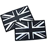 Union Jack Black & White Flag Iron On Patch with Lock-Stitch Optical Effect 2 off