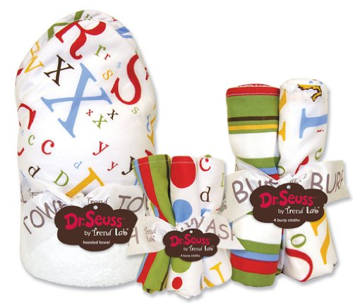 Dr Seuss Abc Bouquet Set - All 3 Bouquets - Hooded Towel (# 30055) And 5 Pack Of Wash Cloths (# 30057) And 4 Pack Of Burp Cloths (#30056).