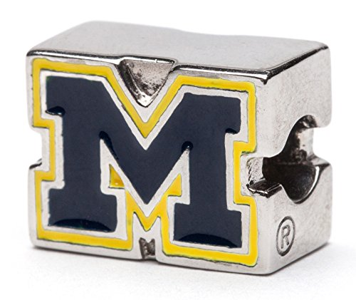 University of Michigan Block M Logo Bead Charm - Blue with Maize - Fits Pandora & Others