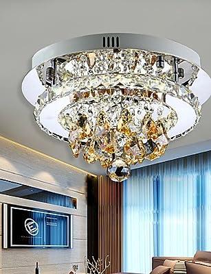 ZSQ Modern Led Ceiling Light Flush Mount White Light Amber Crystal Stainless Steel 90-265V for Living Room Bed Room Hallway #5172