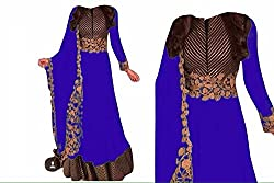 Khazanakart New Attractive Royal Blue Colour Georgette Fabric Bollywood Style Designer Anarkali Dress Material For Women
