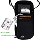 Passport Wallet - Travel Wallet with RFID Blocking for Security, Passport Holder (Black)