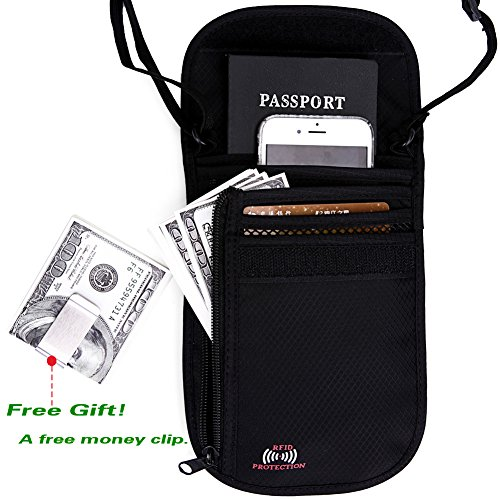 Passport Wallet - Passport Holder - Travel Wallet with RFID Blocking for Security (Black) (Batman Batarang Money Clip compare prices)