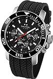 Grandeur Diver TW Steel Unisex Quarzuhr mit schwarzem Zifferblatt Chronograph Anzeige und Schwarz-Silikon-Bügel TW701