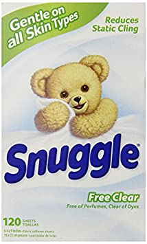 Snuggle Fabric Softener Dryer Sheets Free Clear 120 Count
