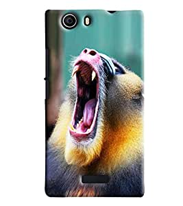 Blue Throat Monkey Shouting Hard Plastic Printed Back Cover/Case For Micromax Nitro 2]