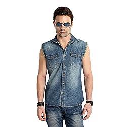 RODID Men's Denim Solid Casual Shirt Indigo Blue_RD19A0SLIB-M