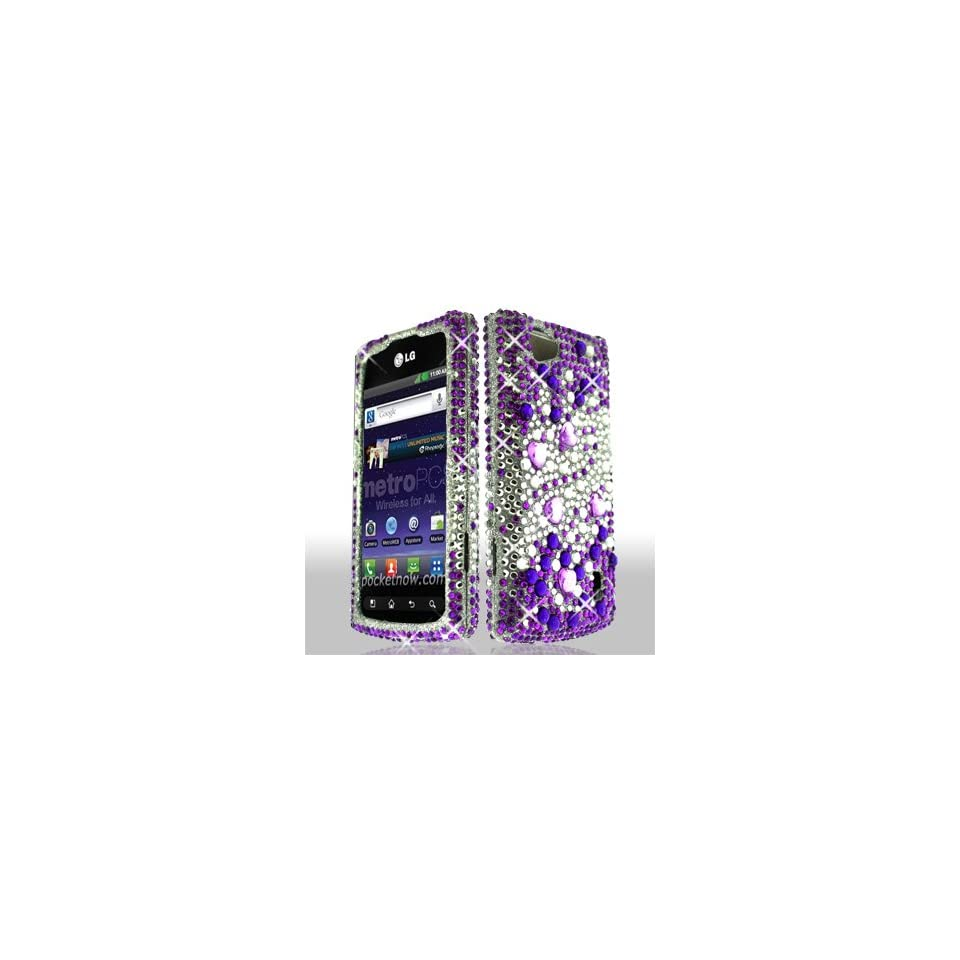 LG Optimus M+ / Plus / MS695 MS 695 Cell Phone Full Crystals Diamonds Bling Protective Case Cover Silver and Purple Mix Love Hearts Gemstones Design Cell Phones & Accessories