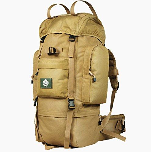 optuny Outdoor grande capacità di uomini e donne arrampicata Walking da viaggio impermeabile borsa a tracolla, Nero, 65L + 5L Zaino