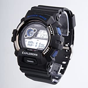 TIME100 LCD Multifunction Blue Bezel Sport Electronic Watch #W40016M.02A