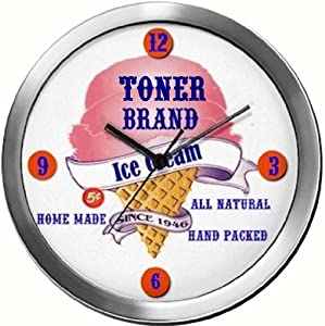 TONER 14 Inch Ice Cream Metal Clock Quartz Movement