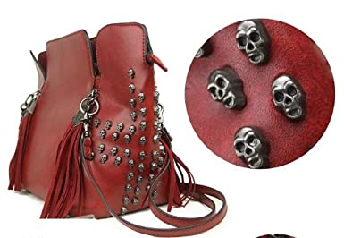 Tassel Skull Women Faux Leather Padlock Designer Inspired Tote Bag