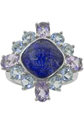 Sterling Silver Lapis, Quartz, Blue Topaz and Amethyst Ring, Size 7
