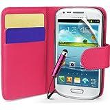 Rosa Supergets Hülle für das Samsung Galaxy S3 Mini I8190 Buchstil Klapptasche in Lederoptik mit Karteneinschub und Magnetverschluß Etui Flip Case, Schutzfolie, Reinigungstuch, Mini Eingabestift